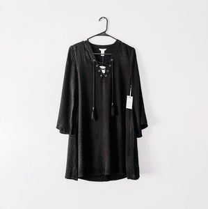 NWT Black Bell Sleeve Lace Up Dress